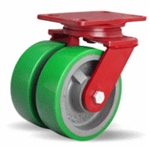 6 Inch dual wheel Swivel Caster with polyurethane on cast core wheels