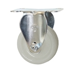 Stainless Steel Rigid Caster with White Nylon Wheel
