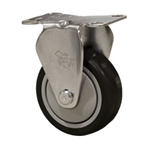 "3"" Stainless Steel Rigid Caster with Black Polyurethane Tread"