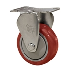 "3"" Stainless Steel Rigid Caster with Red Polyurethane Tread"