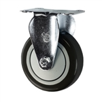 "4"" Stainless Steel Rigid Caster with Black Polyurethane Tread"