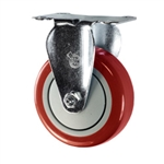 "4"" Stainless Steel Rigid Caster with Red Polyurethane Tread"