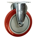 "5"" Stainless Steel Rigid Caster with Red Polyurethane Tread"