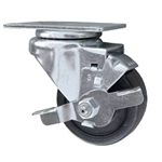 3 Inch Stainless Steel Swivel Caster with Hard Rubber Wheel and brake