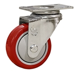 "3"" Stainless Steel Swivel Caster with Red Polyurethane Tread"