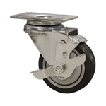 "3"" Stainless Steel Swivel Caster with Black Polyurethane Tread and top lock brake"