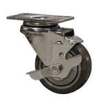 "3"" Stainless Steel Swivel Caster with Polyurethane Tread and top lock brake"
