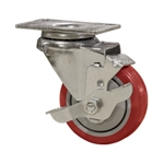 "3"" Stainless Steel Swivel Caster with Red Polyurethane Tread and top lock brake"