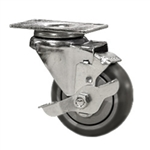 "3"" Stainless Steel Swivel Caster with Thermoplastic Rubber Tread Wheel and Brake"