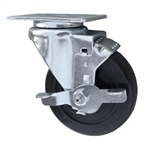 4 Inch Stainless Steel Swivel Caster with Hard Rubber Wheel and brake