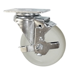 4 Inch Stainless Steel Swivel Caster with White Nylon Wheel and Brake
