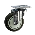"4"" Stainless Steel Swivel Caster with Black Polyurethane Tread"