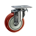"4"" Stainless Steel Swivel Caster with Red Polyurethane Tread"