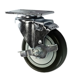 "4"" Stainless Steel Swivel Caster with Black Polyurethane Tread and top lock brake"
