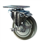 "4"" Stainless Steel Swivel Caster with Polyurethane Tread and top lock brake"