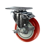 "4"" Stainless Steel Swivel Caster with Red Polyurethane Tread and top lock brake"