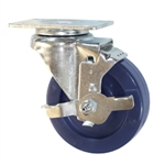 "4"" Stainless Steel Swivel Caster with Brake and Polyurethane Wheel"