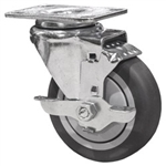 "4"" Stainless Steel Rigid Caster with Thermoplastic Rubber Tread Wheel and Brake"