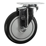 "5"" Stainless Steel Swivel Caster with Black Polyurethane Tread"