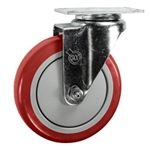 "5"" Stainless Steel Swivel Caster with Red Polyurethane Tread"