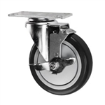 "5"" Stainless Steel Swivel Caster with Black Polyurethane Tread and top lock brake"