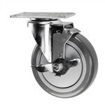 "5"" Stainless Steel Swivel Caster with Polyurethane Tread and top lock brake"