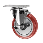 "5"" Stainless Steel Swivel Caster with Red Polyurethane Tread and top lock brake"