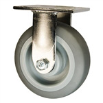 6 Inch Stainless Steel Rigid Caster - Polyurethane Tread on Poly Core Wheel