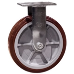 8 Inch Stainless Steel Rigid Caster - Polyurethane Tread on Poly Core Wheel