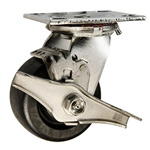 4 Inch Stainless Steel Swivel Caster - Polyolefin Wheel with Brake