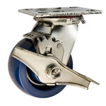 4 Inch Stainless Steel Swivel Caster - Solid Polyurethane Wheel