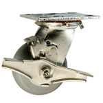 4 Inch Stainless Steel Swivel Caster - Thermoplastic Rubber  Tread on Poly Core Wheel