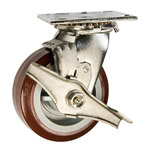 5 Inch Stainless Steel Swivel Caster - Polyurethane Tread on Poly Core Wheel