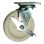 6 Inch Stainless Steel Swivel Caster - Nylon Wheel