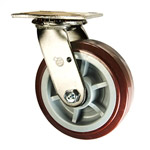 6 Inch Stainless Steel Swivel Caster - Polyurethane Tread on Poly Core Wheel