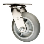 6 Inch Stainless Steel Swivel Caster - Thermoplastic donut tread on Poly Core Wheel
