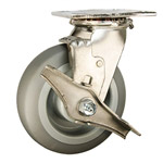 6 Inch Stainless Steel Swivel Caster - Thermoplastic Rubber  Tread on Poly Core Wheel
