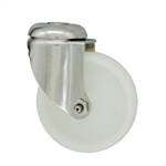 4 Inch Stainless Steel Bolt Hole Swivel Caster with White Nylon Wheel