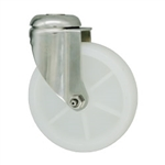 5 Inch Stainless Steel Bolt Hole Swivel Caster with White Nylon Wheel