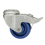 "3"" Stainless Steel Grade 316 Bolt Hole Caster with Solid Polyurethane Wheel and Total Lock Brake"