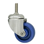 "3"" Grade 316 Stainless Steel Metric Threaded Stem Swivel Caster with Solid Polyurethane Wheel"