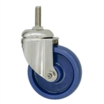 "4"" Stainless Steel Grade 316 Threaded Stem Swivel Caster with Solid Polyurethane Wheel"