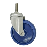 "5"" Stainless Steel Grade 316 Threaded Stem Swivel Caster with Solid Polyurethane Wheel"