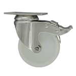 4 Inch Stainless Steel Swivel Caster with White Nylon Wheel and Total Lock