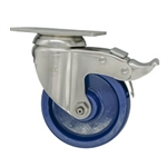 "4"" Stainless Steel Swivel Caster with Solid Polyurethane Wheel and Total Lock Brake"