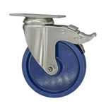 "5"" Stainless Steel Swivel Caster with Solid Polyurethane Wheel and Total Lock Brake"