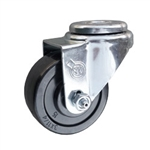 "3"" Stainless Steel Swivel Caster with bolt hole and hard rubber wheel"