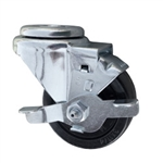 "3"" Stainless Steel Swivel Caster with bolt hole, hard rubber wheel and brake"
