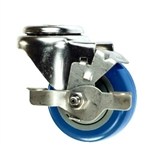 "3"" Stainless Steel Bolt Hole Caster with Blue Polyurethane Tread and Brake"