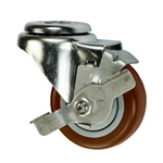 "3"" Stainless Steel Bolt Hole Caster with Maroon Polyurethane Tread and Brake"